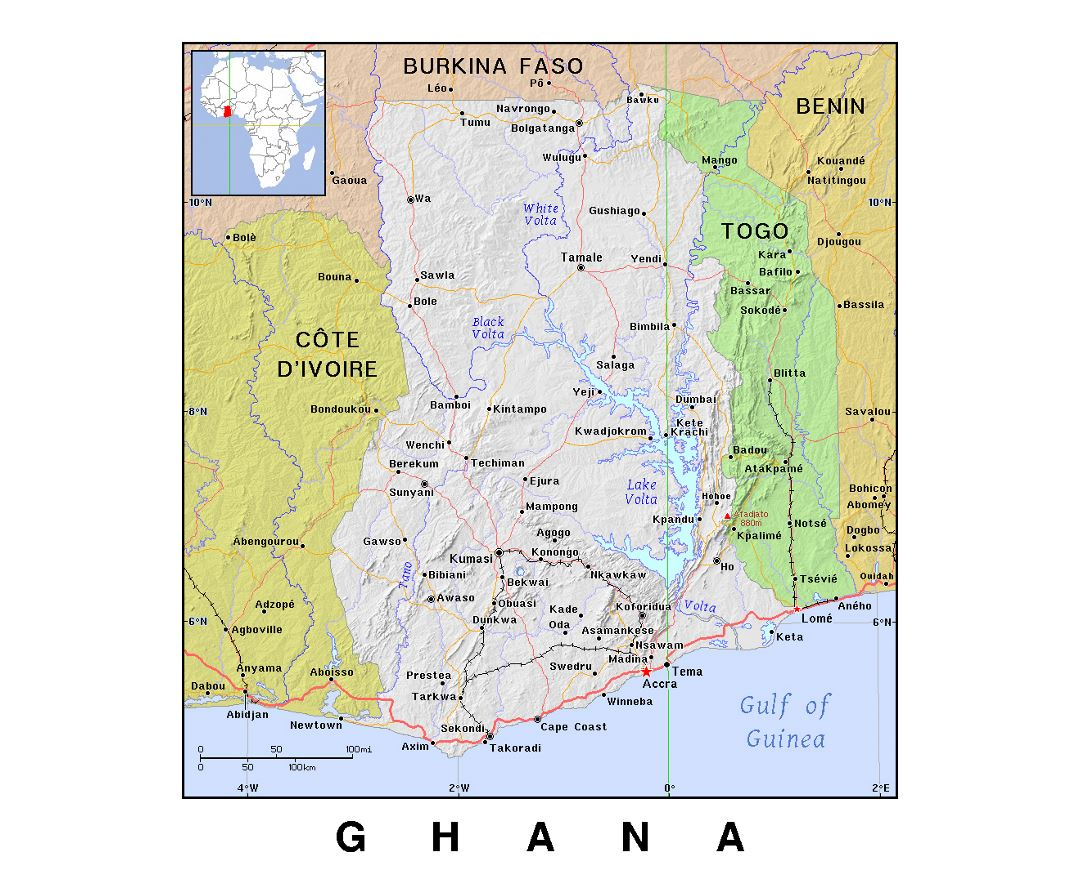 Detailed political map of Ghana with relief