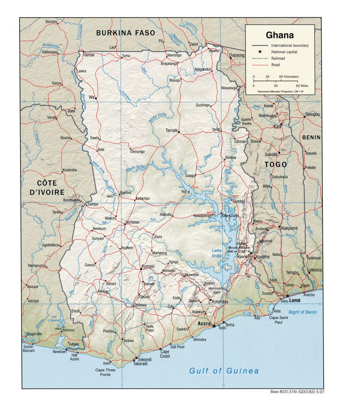 Detailed political map of Ghana with relief, roads, railroads and cities - 2007