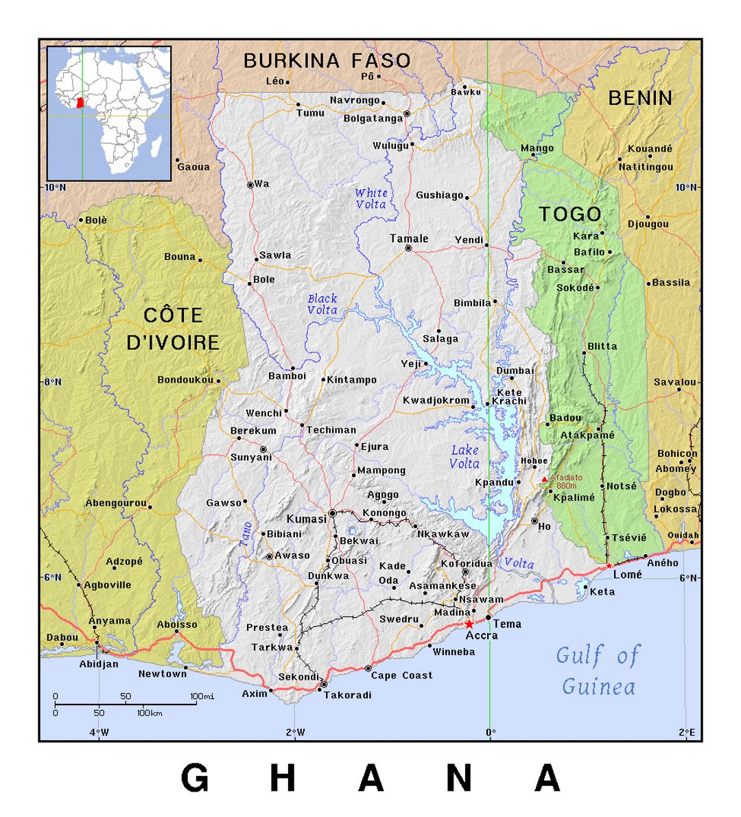 Detailed political map of Ghana with relief Ghana Africa
