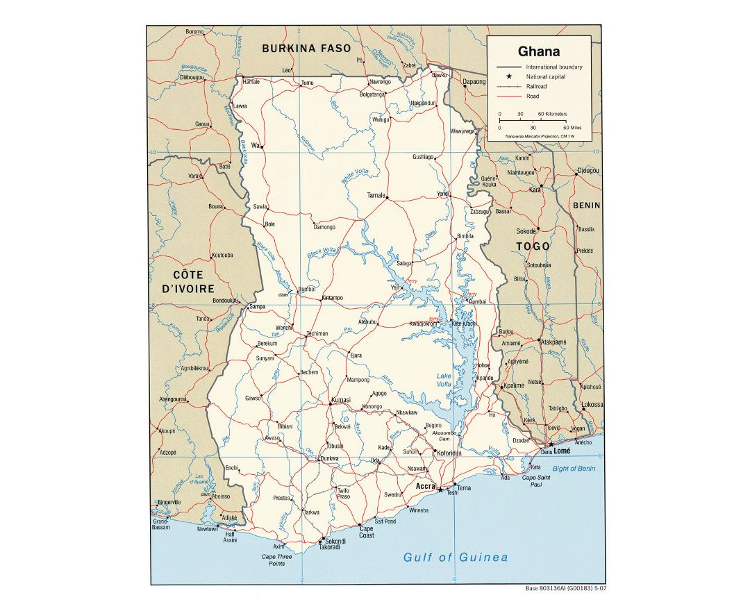 Detailed political map of Ghana with roads, railroads and cities - 2007