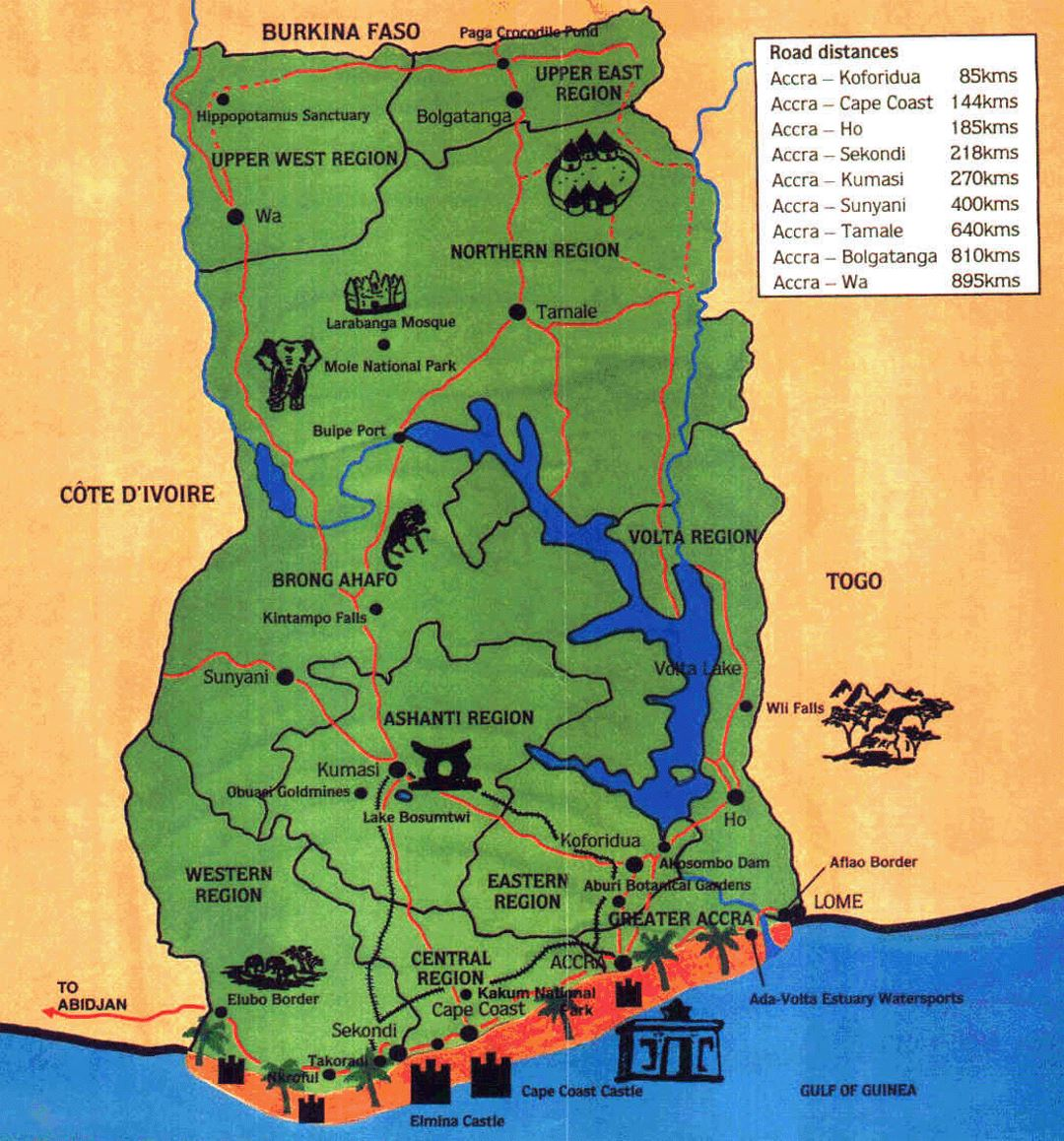 Detailed travel map of Ghana