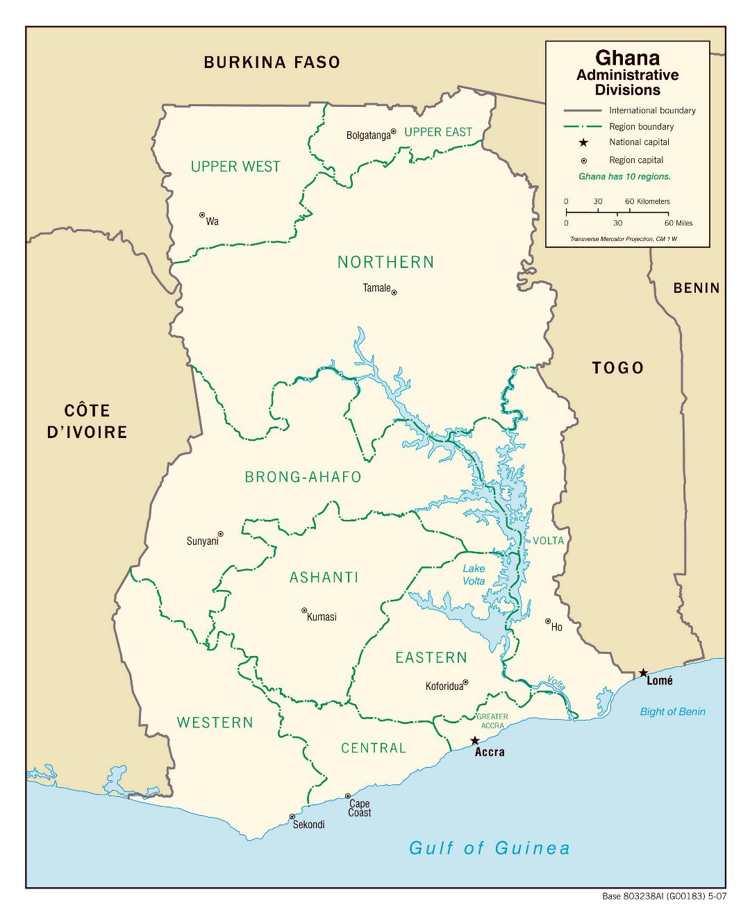 Large administrative divisions map of Ghana - 2007