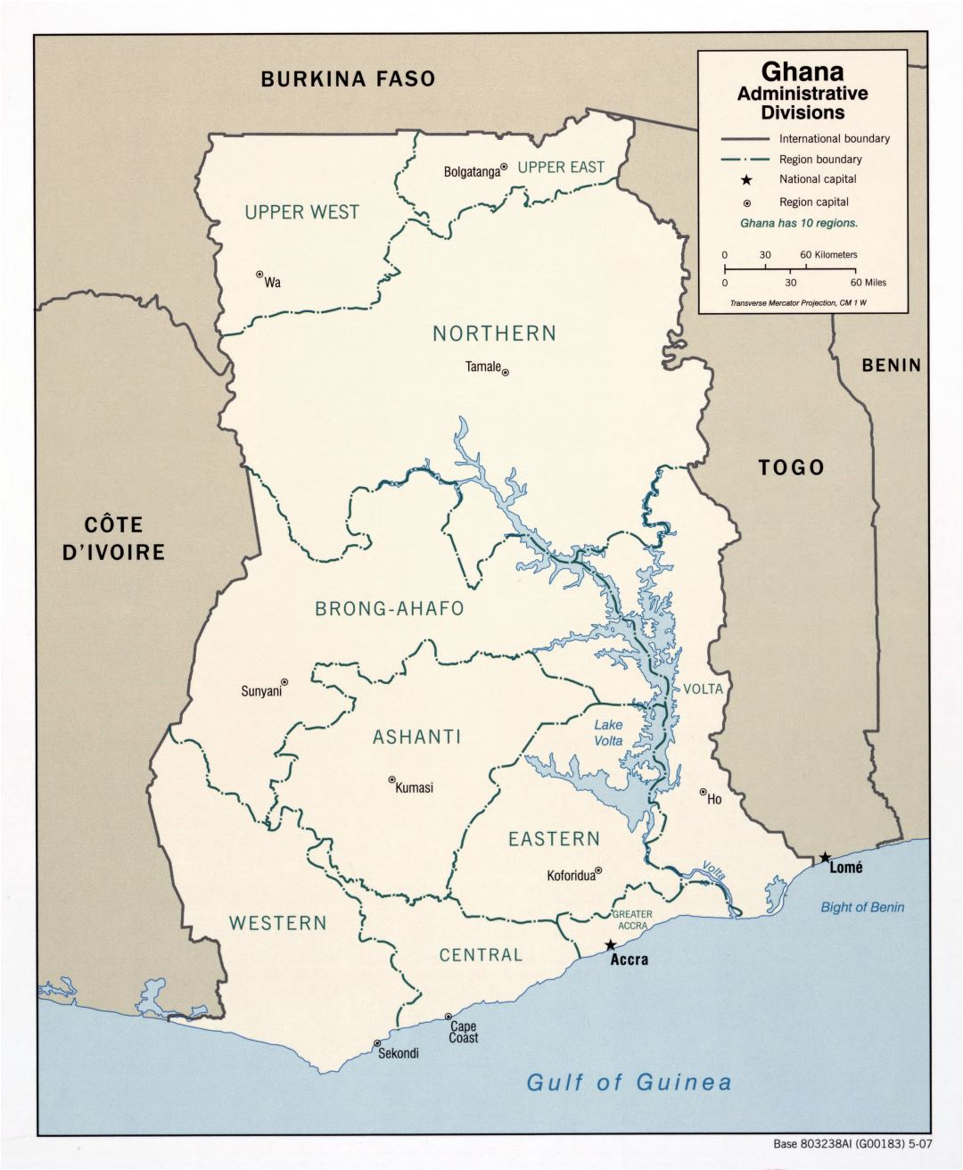 Large detailed administrative divisions map of Ghana - 2007