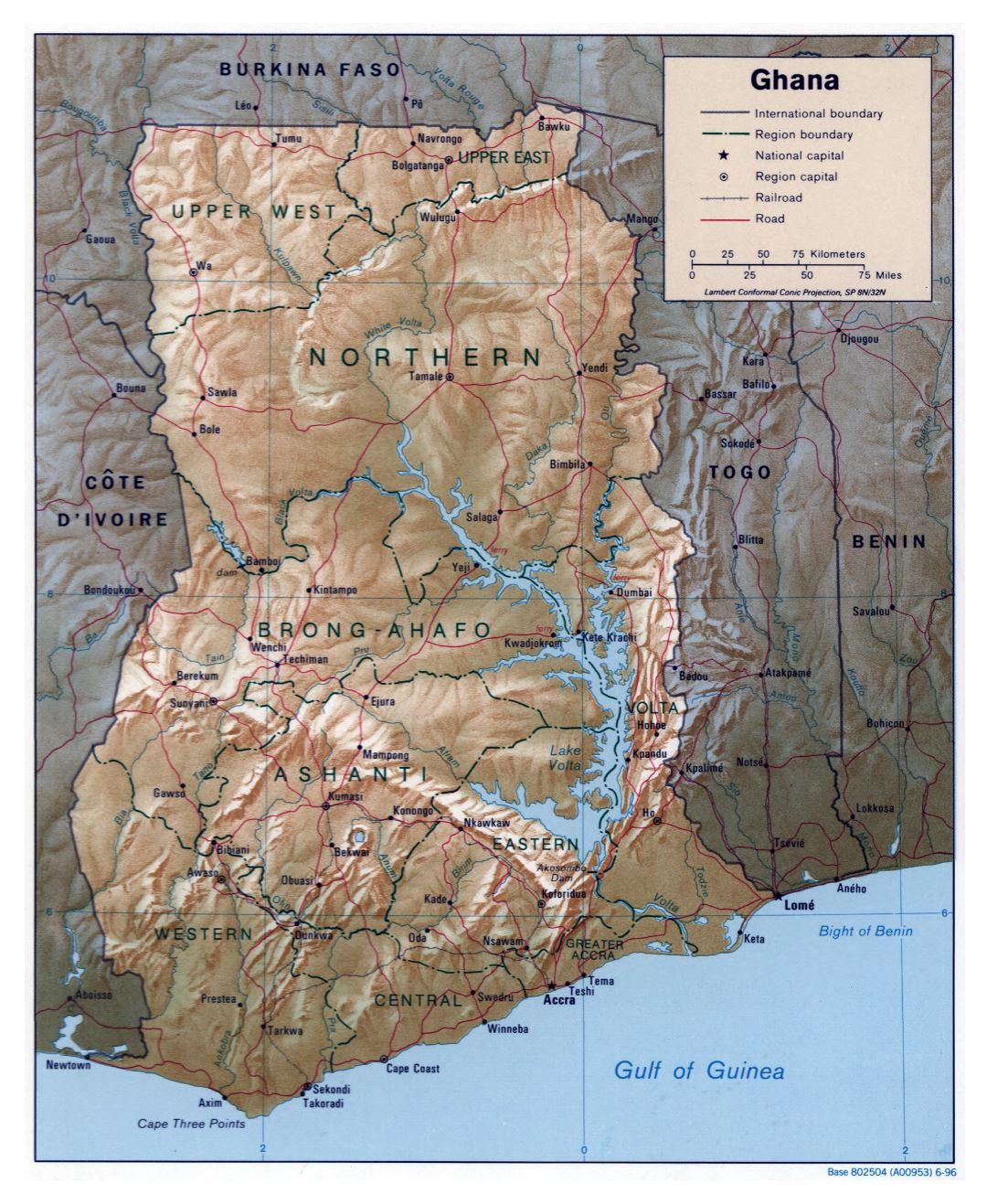 Large detailed political and administrative map of Ghana with relief, roads, railroads and major cities - 1996