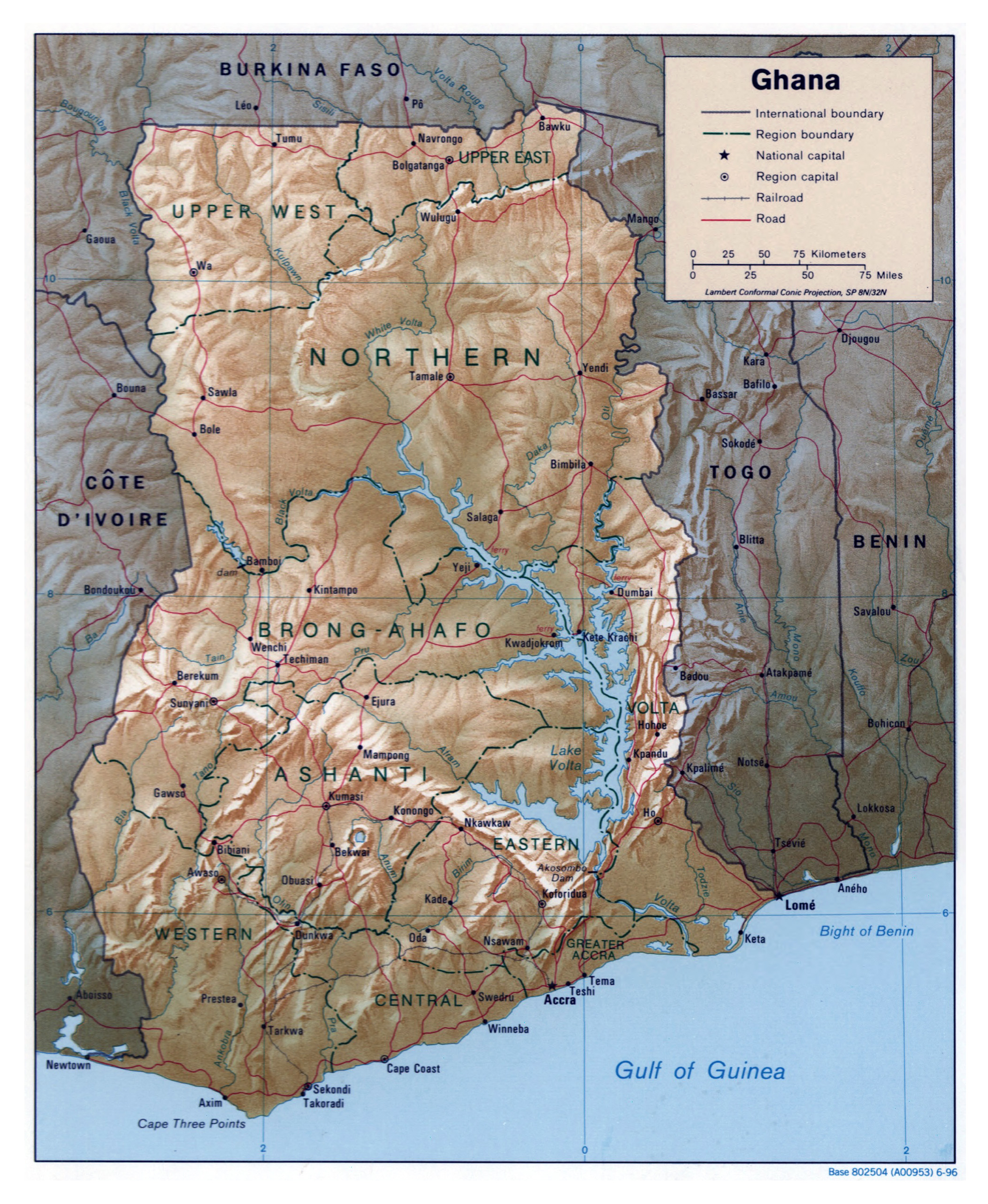 Large detailed political and administrative map of Ghana with relief