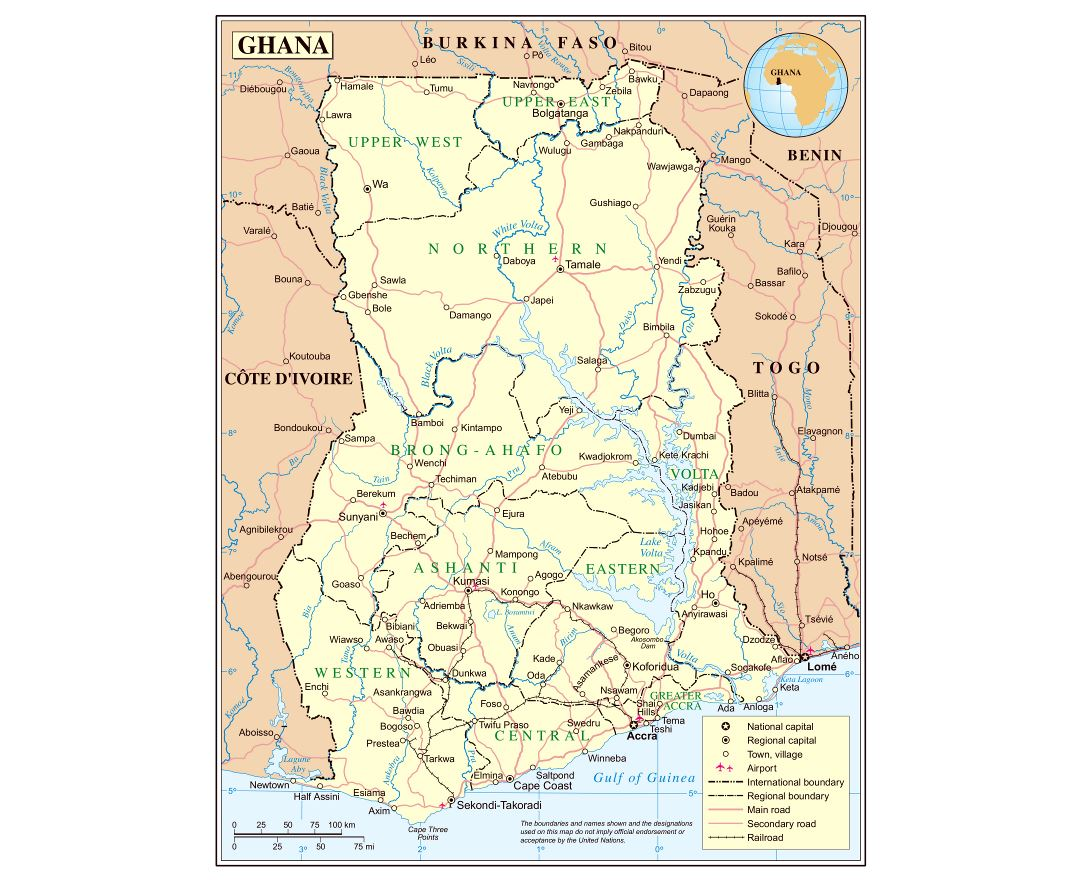 Large detailed political and administrative map of Ghana with roads, railroads, cities and airports