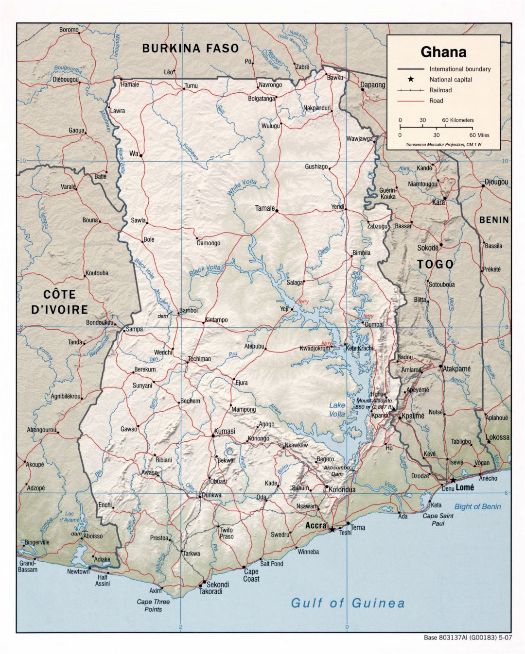 Large detailed political map of Ghana with relief, roads, railroads and major cities - 2007