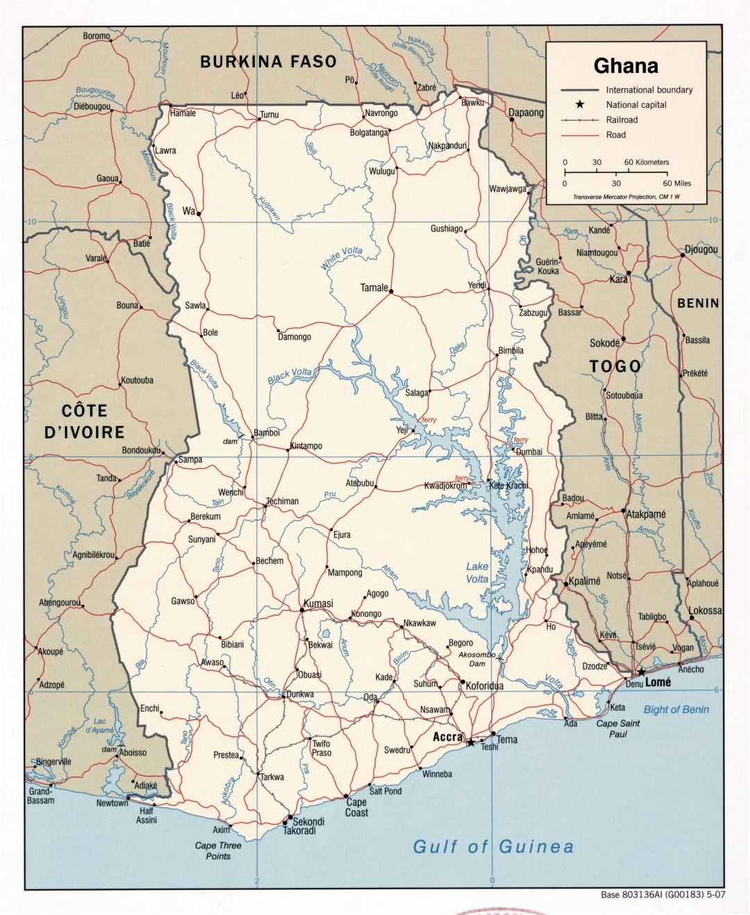 Large detailed political map of Ghana with roads, railroads and major cities - 2007