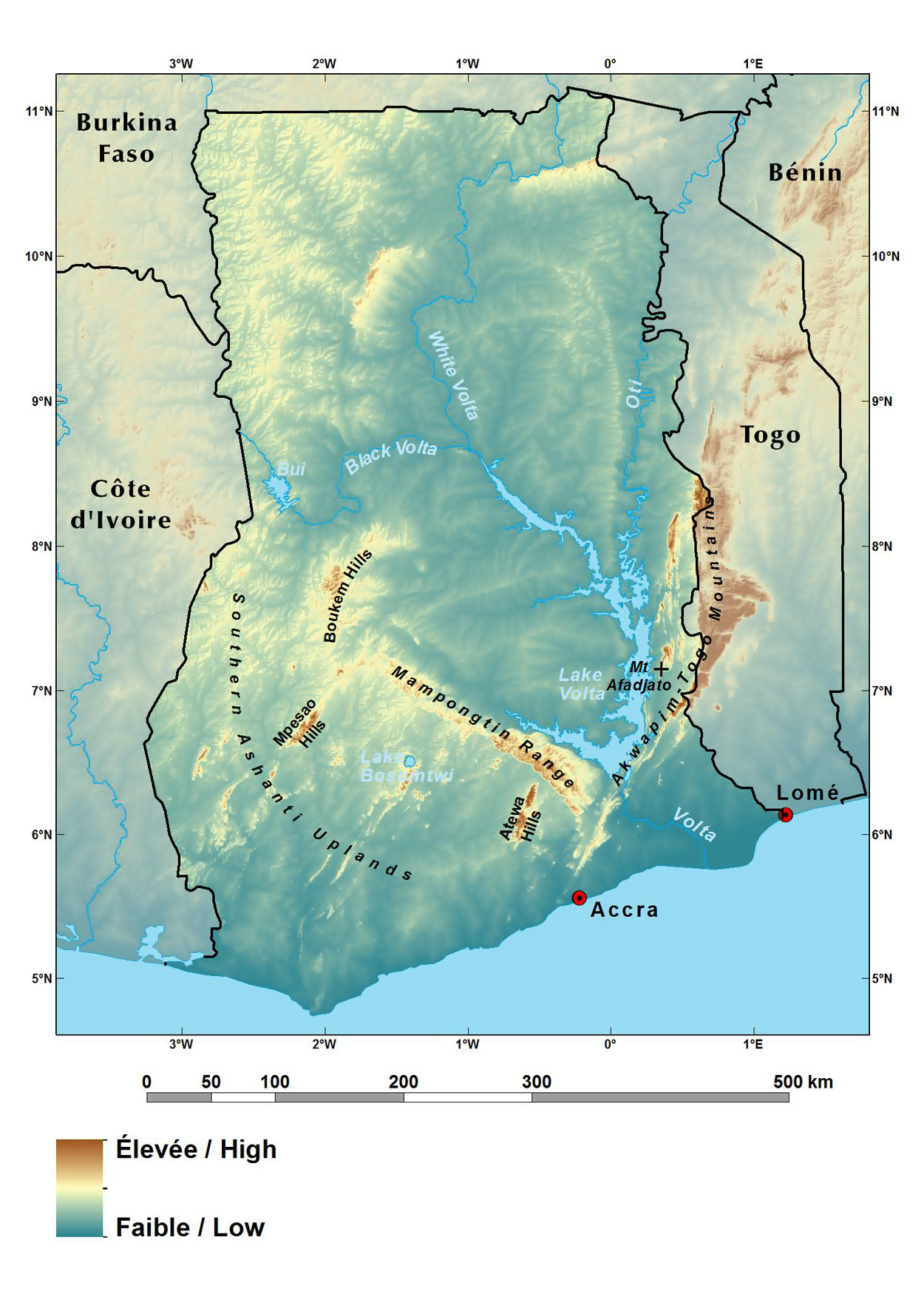 Large elevation map of Ghana | Ghana | Africa | Mapsland | Maps of ...