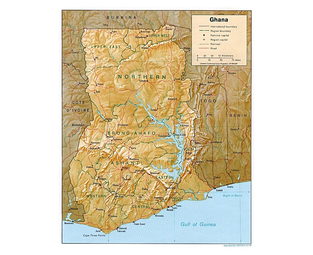 Large political and administrative map of Ghana with relief, roads, railroads and major cities - 1995