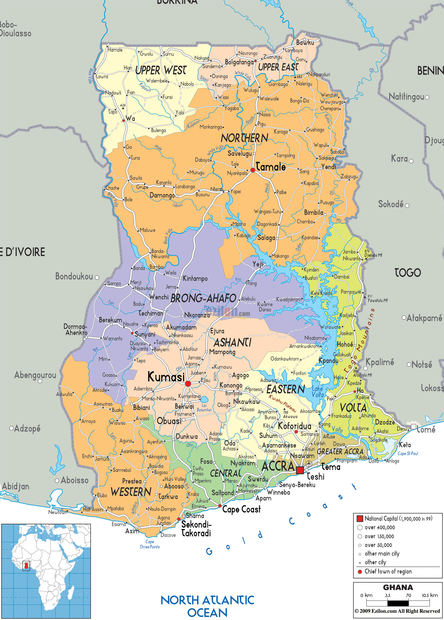 Large political and administrative map of Ghana with roads cities