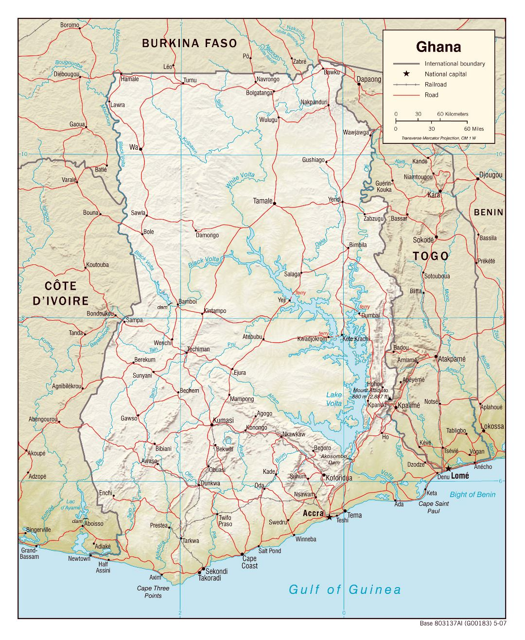 Large political map of Ghana with relief, roads, railroads and cities - 2007