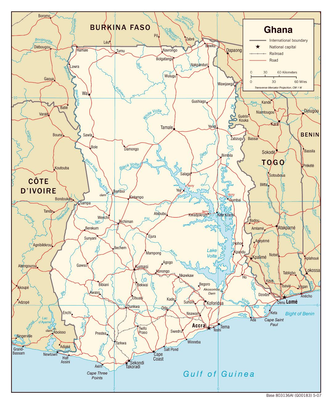 Large political map of Ghana with roads, railroads and cities - 2007