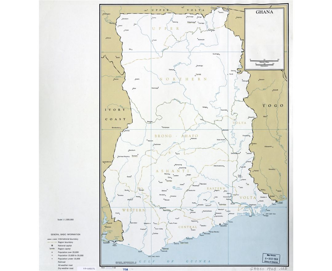 Large scale detailed political and administrative map of Ghana with cities - 1963
