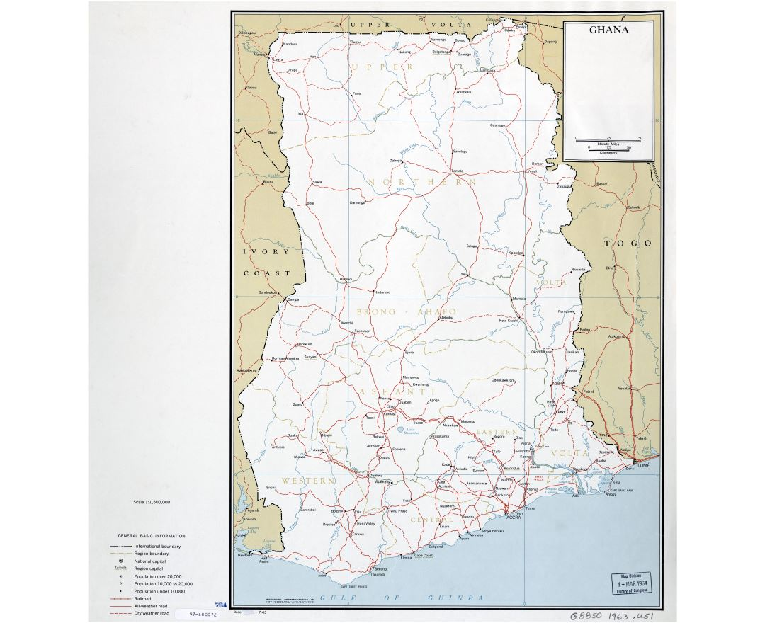 Large scale detailed political and administrative map of Ghana with roads, railroads and cities - 1963