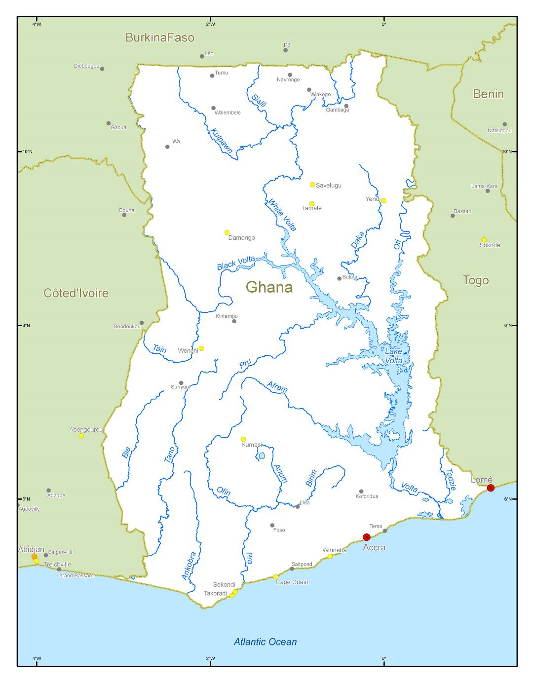 Large scale rivers and lakes map of Ghana