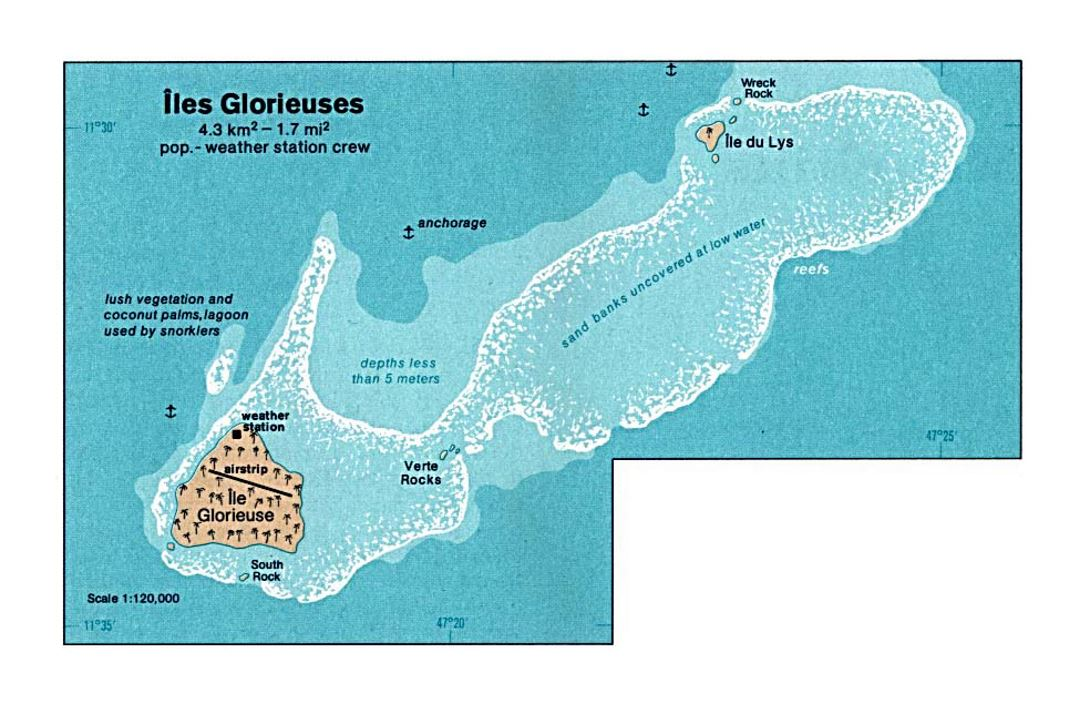 Detailed map of Glorioso Islands