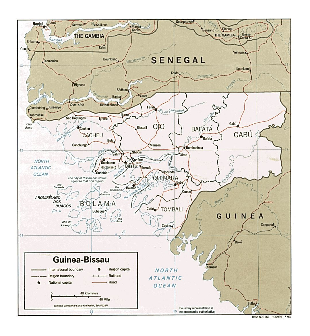 Detailed political and administrative map of Guinea-Bissau with roads, railroads and major cities - 1993
