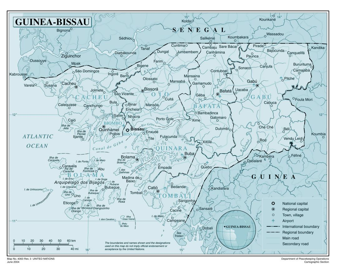 Maps of GuineaBissau Detailed map of GuineaBissau in English