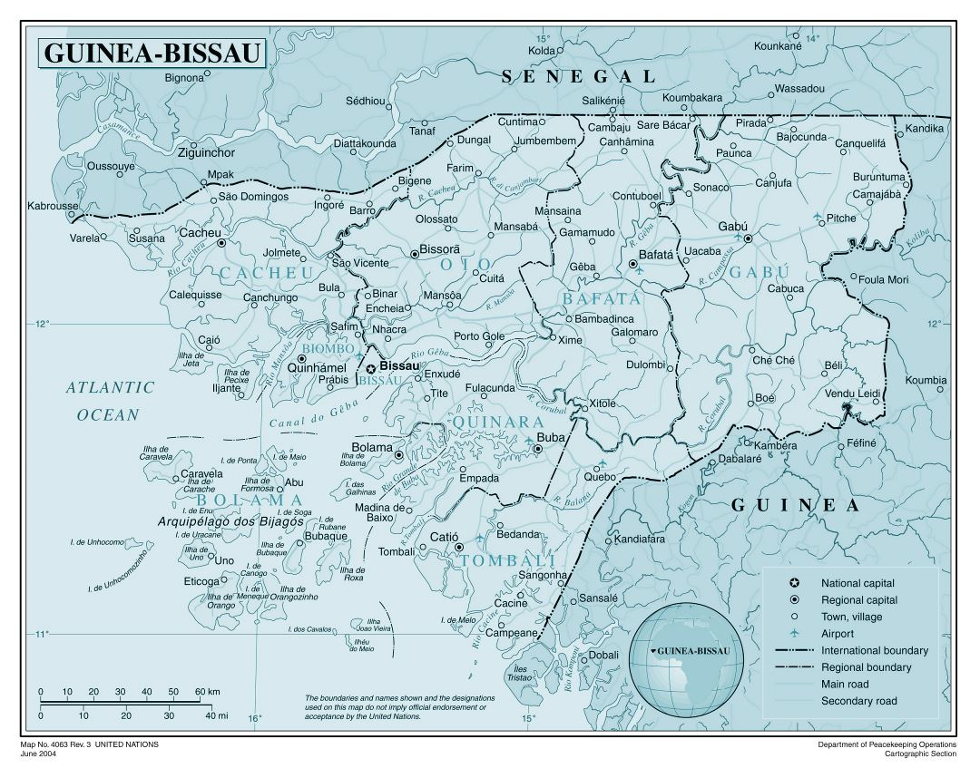 Large detailed political and administrative map of Guinea-Bissau with all cities, roads, railroads and airports