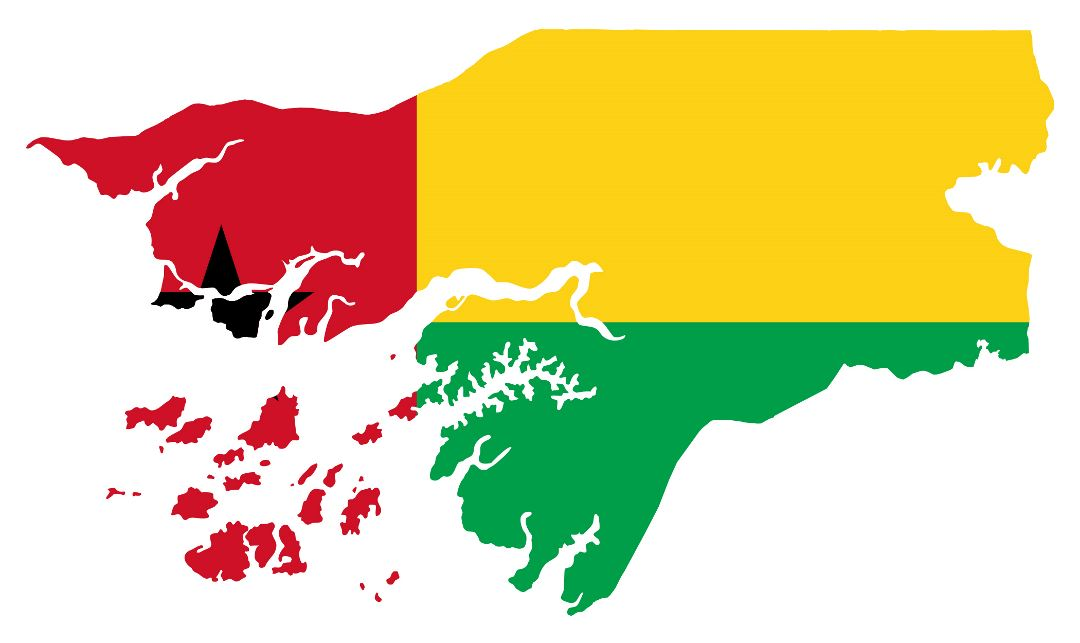 Large flag map of Guinea-Bissau