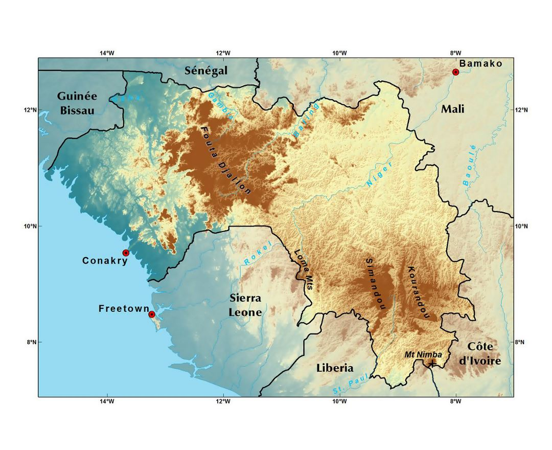Maps of guinea detailed map of guinea in english tourist map detailed elevation map of guinea publicscrutiny Image collections