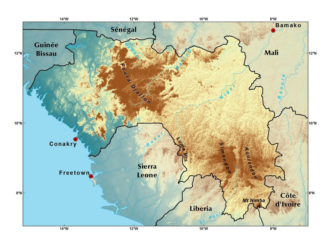 Detailed elevation map of Guinea