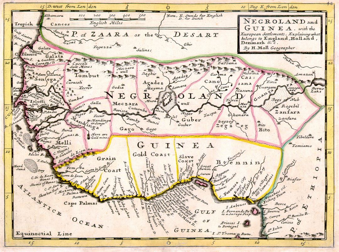 Detailed old map of Negroland and Guinea with the European Settlements - 1736
