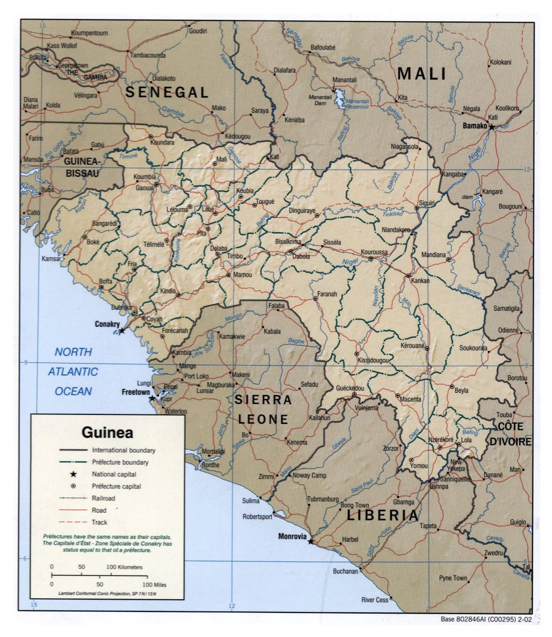 Large detailed political and administrative map of Guinea with relief, roads, railroads and cities - 2002
