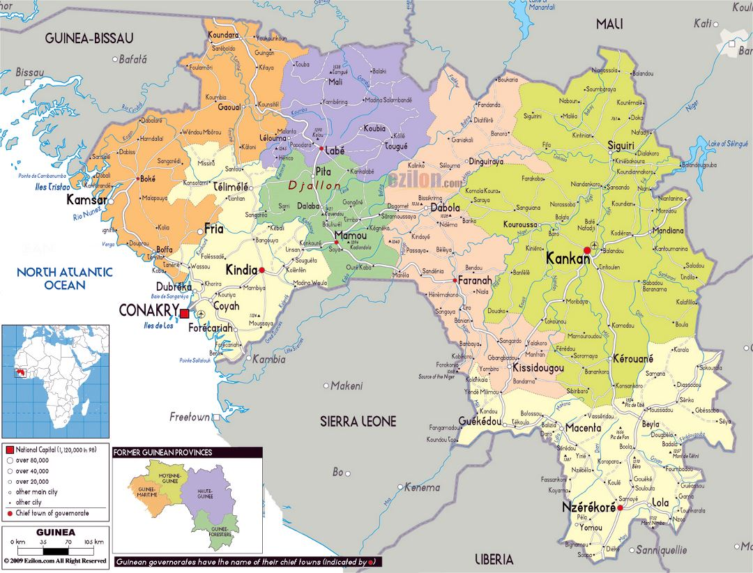 Large political and administrative map of Guinea with roads, cities and airports