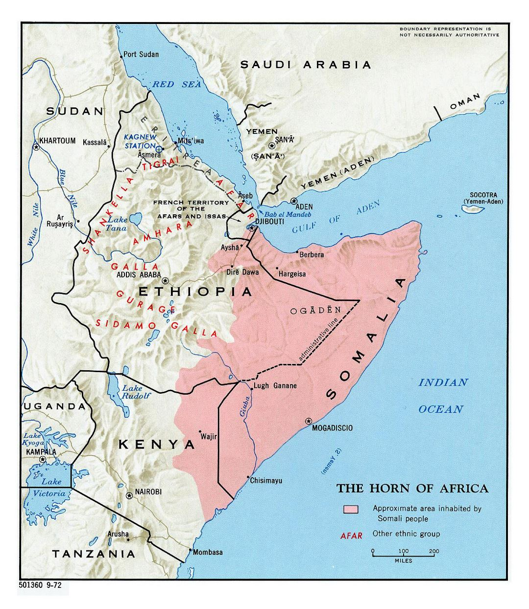 Detailed map of Horn of Africa with relief - 1972