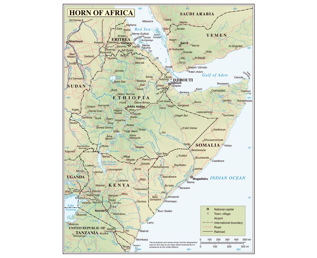 Large detailed political map of Horn of Africa with relief, roads, railroads and cities