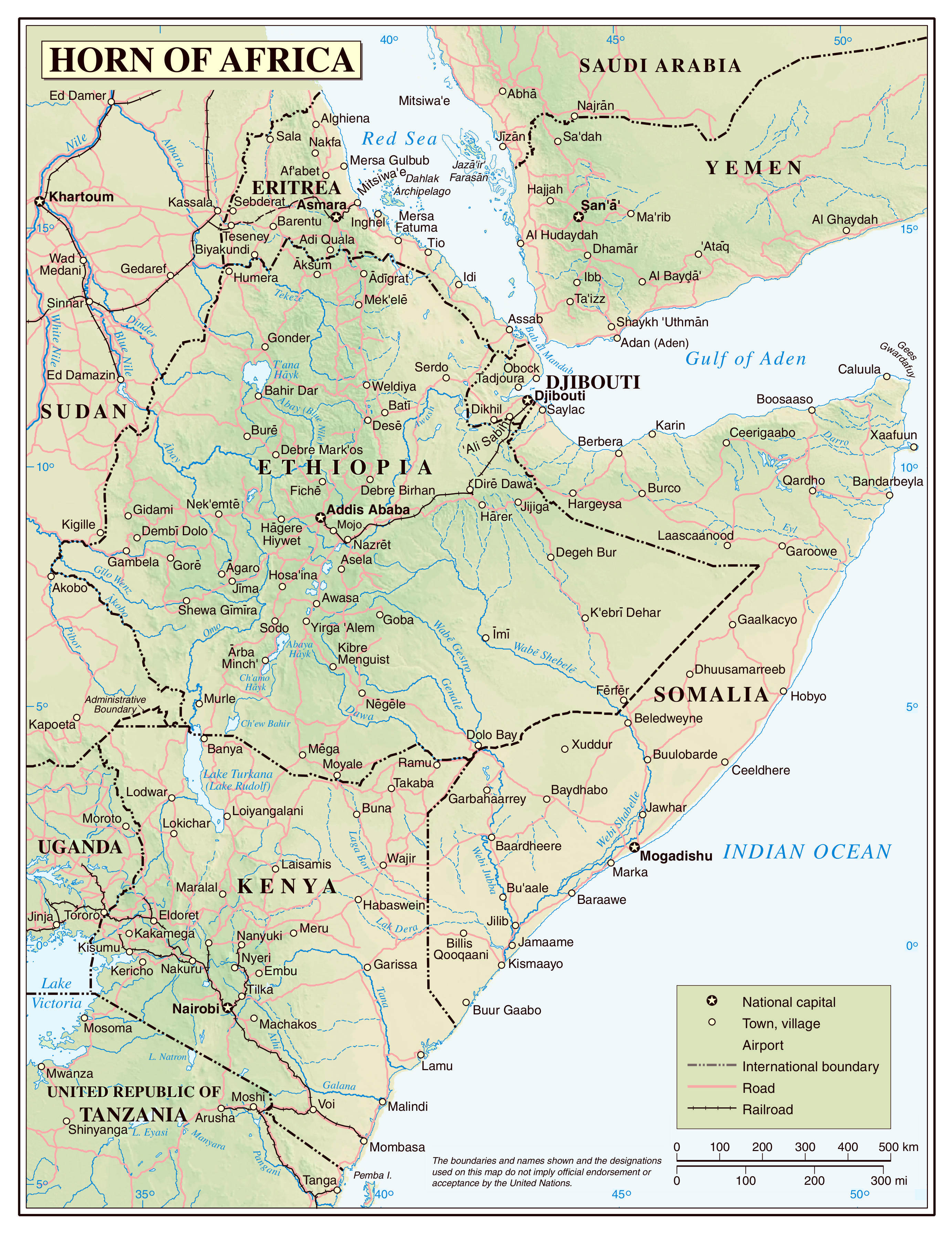 Large detailed political map of horn of africa with relief roads large detailed political map of horn of africa with relief roads railroads and cities gumiabroncs Images