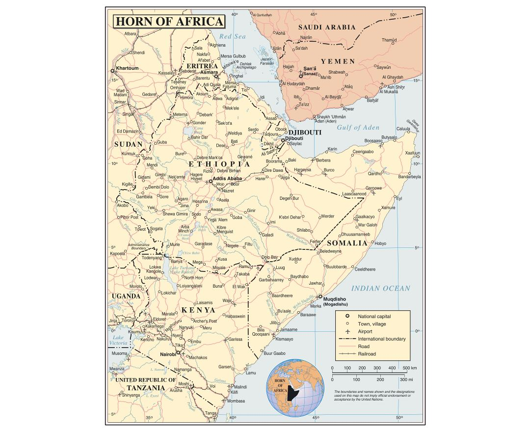 Large detailed political map of Horn of Africa with roads, railroads, cities and airports