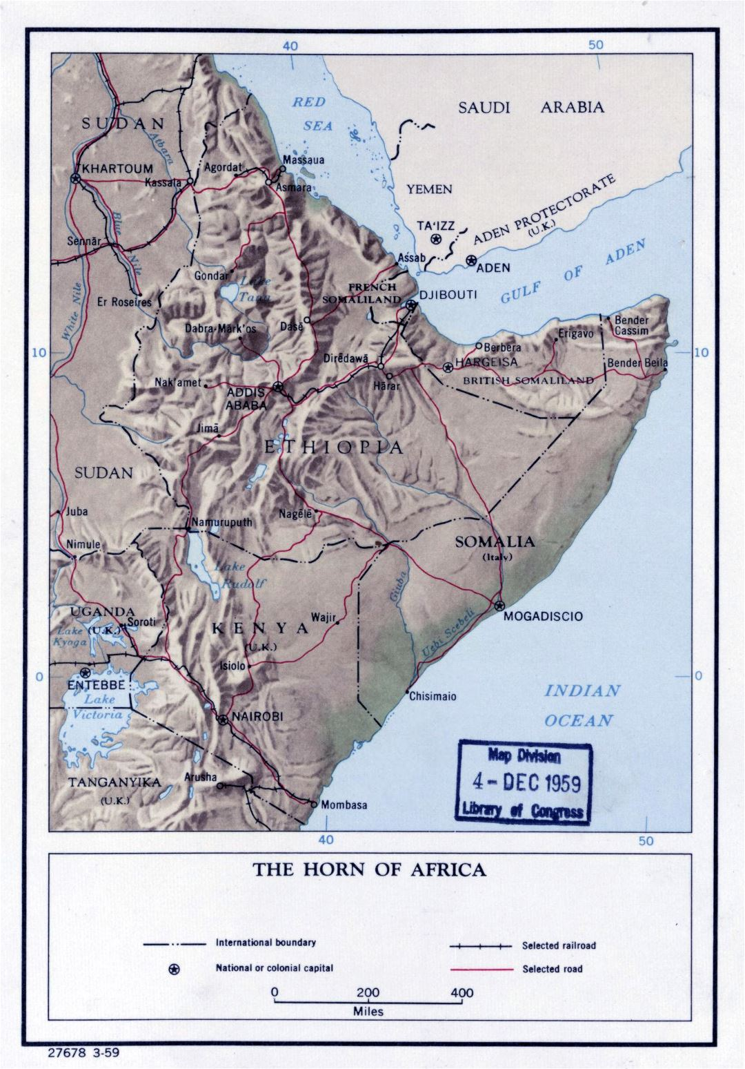 Large detailed political map of the Horn of Africa with relief - 1959