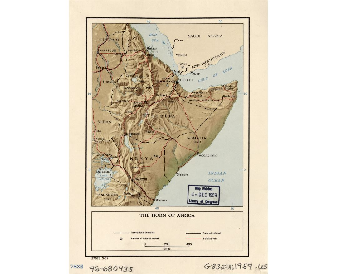 Large detailed political map of the Horn of Africa with relief, roads, railroads, large cities and countries boundaries - 1959