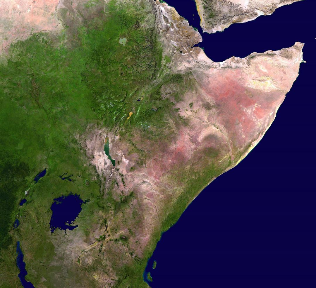 Large detailed satellite map of Horn of Africa