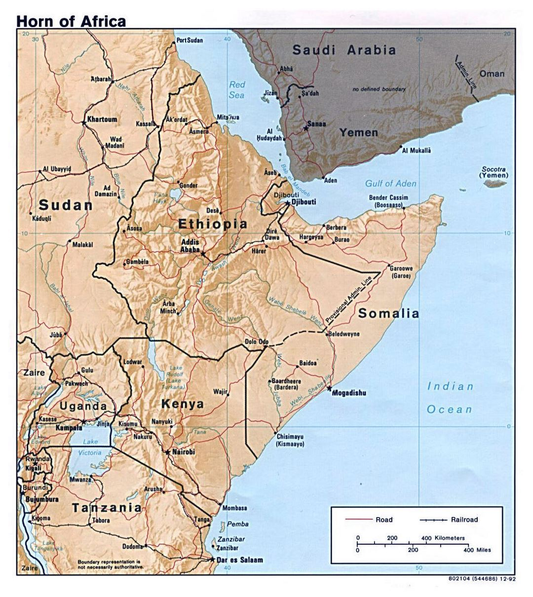 Large political map of Horn of Africa with relief - 1992