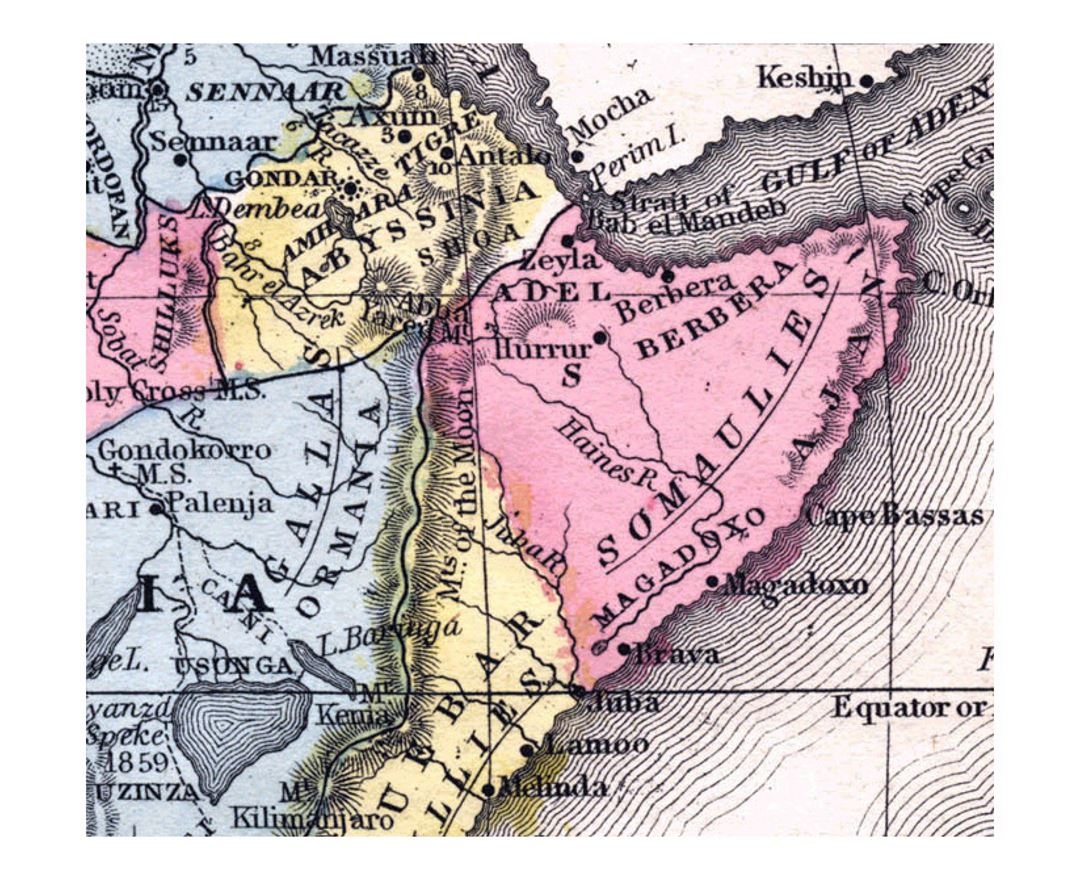 Old political map of Horn of Africa - 1867