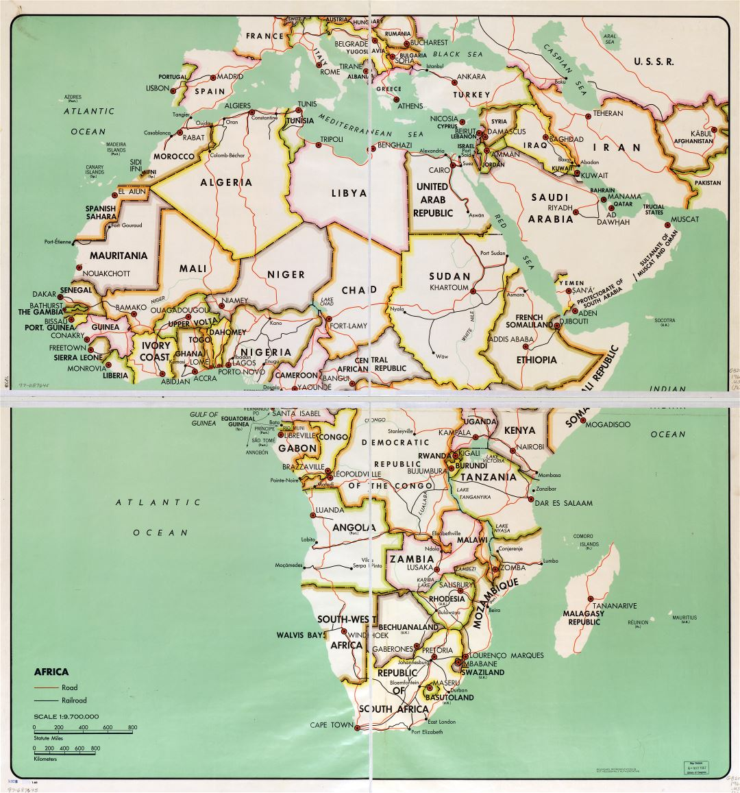 In high resolution detail political map of Africa with the marks of capital cities, large cities, major roads, railroads and names of countries - 1966
