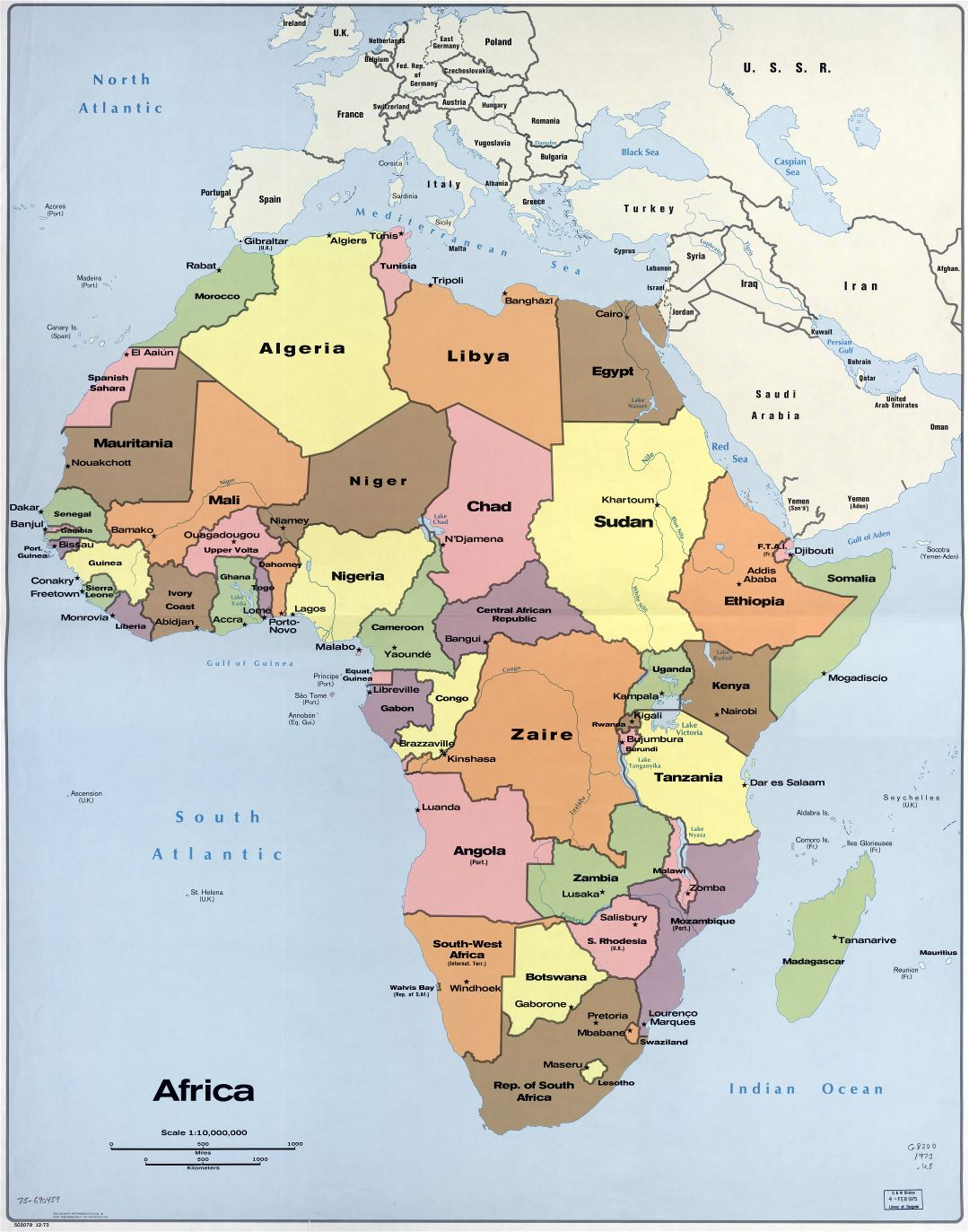In high resolution detailed political map of Africa with the ...