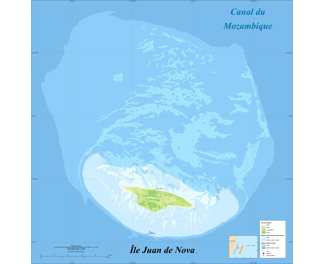 Maps of Juan de Nova Island Detailed map of Juan de Nova Island in
