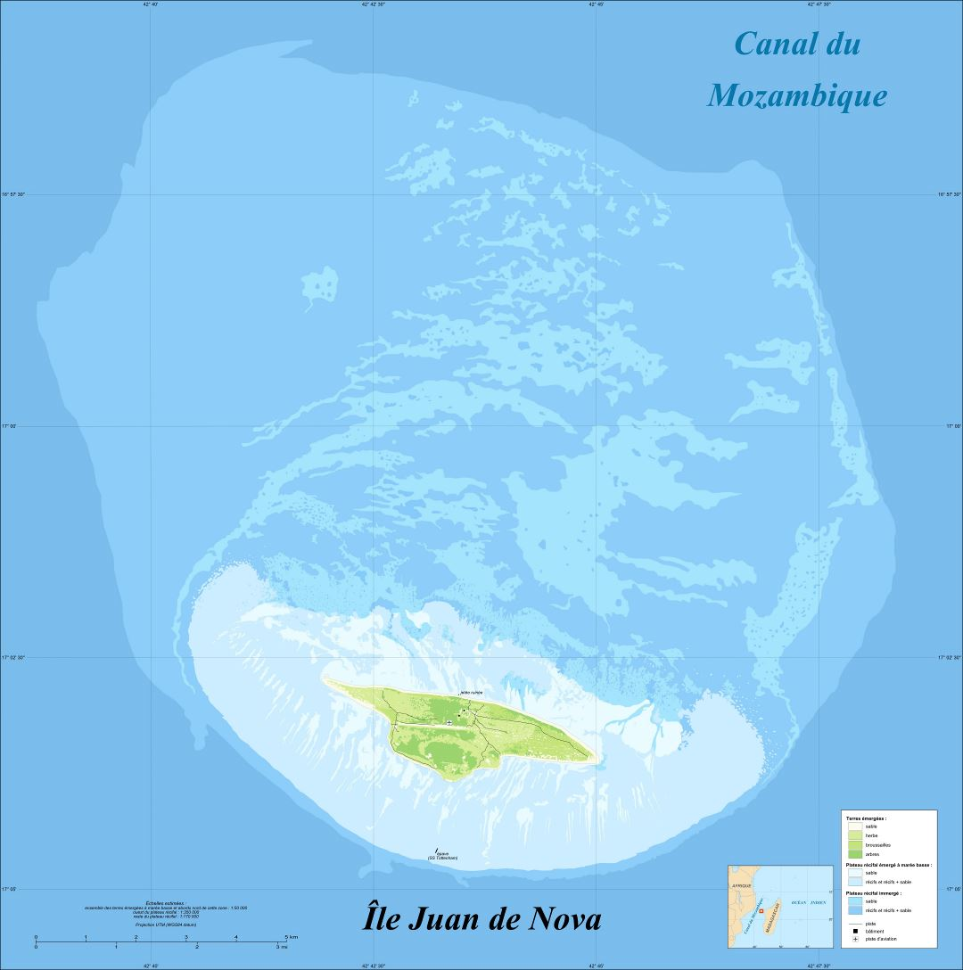 Large detailed elevation map of Juan de Nova Island in french