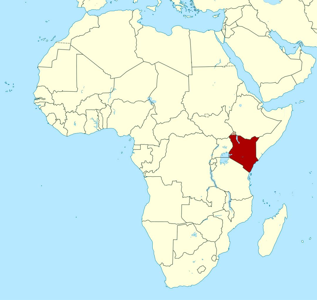Detailed location map of Kenya in Africa