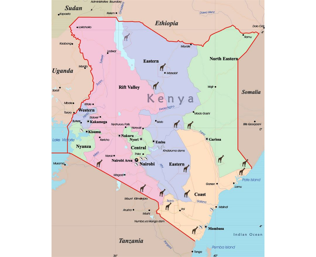 Maps of Kenya | Collection of maps of Kenya | Africa | Mapsland ...