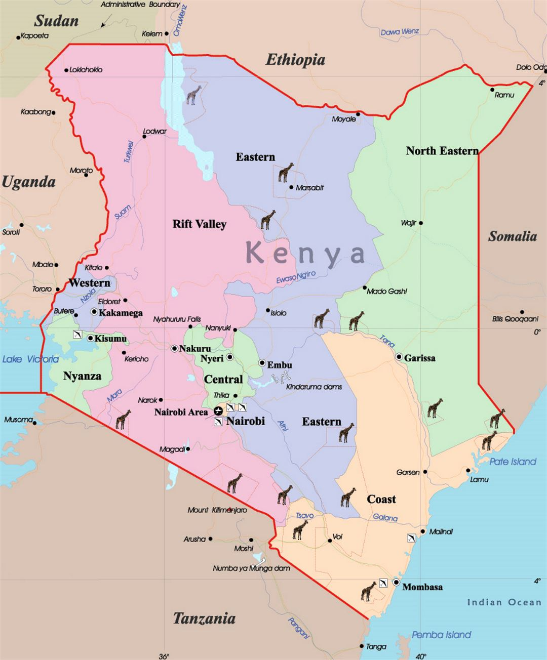 detailed map of kenya