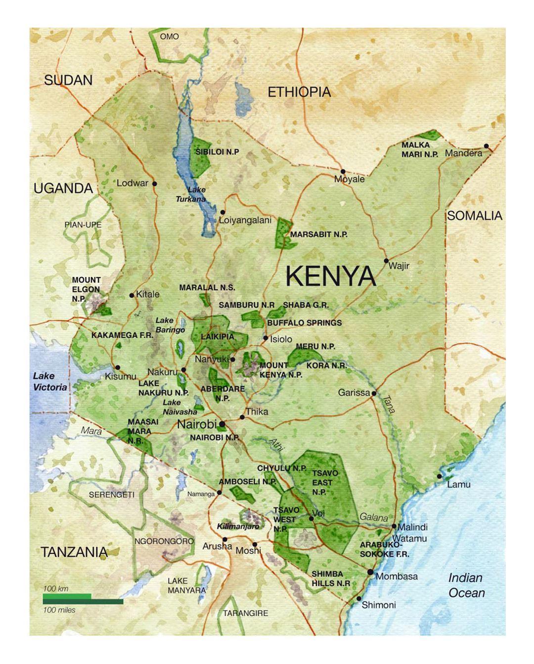 Detailed national parks map of Kenya | Kenya | Africa ...