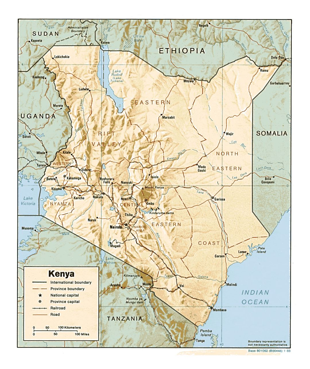 Detailed political and administrative map of Kenya with relief, roads, railroads and major cities - 1988