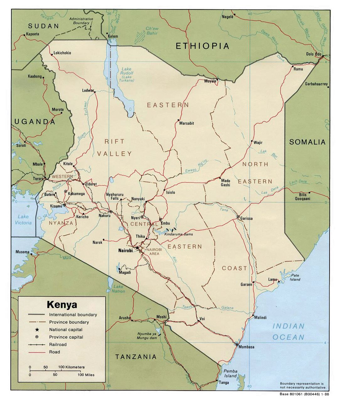 Detailed political and administrative map of Kenya with roads, railroads and major cities - 1988
