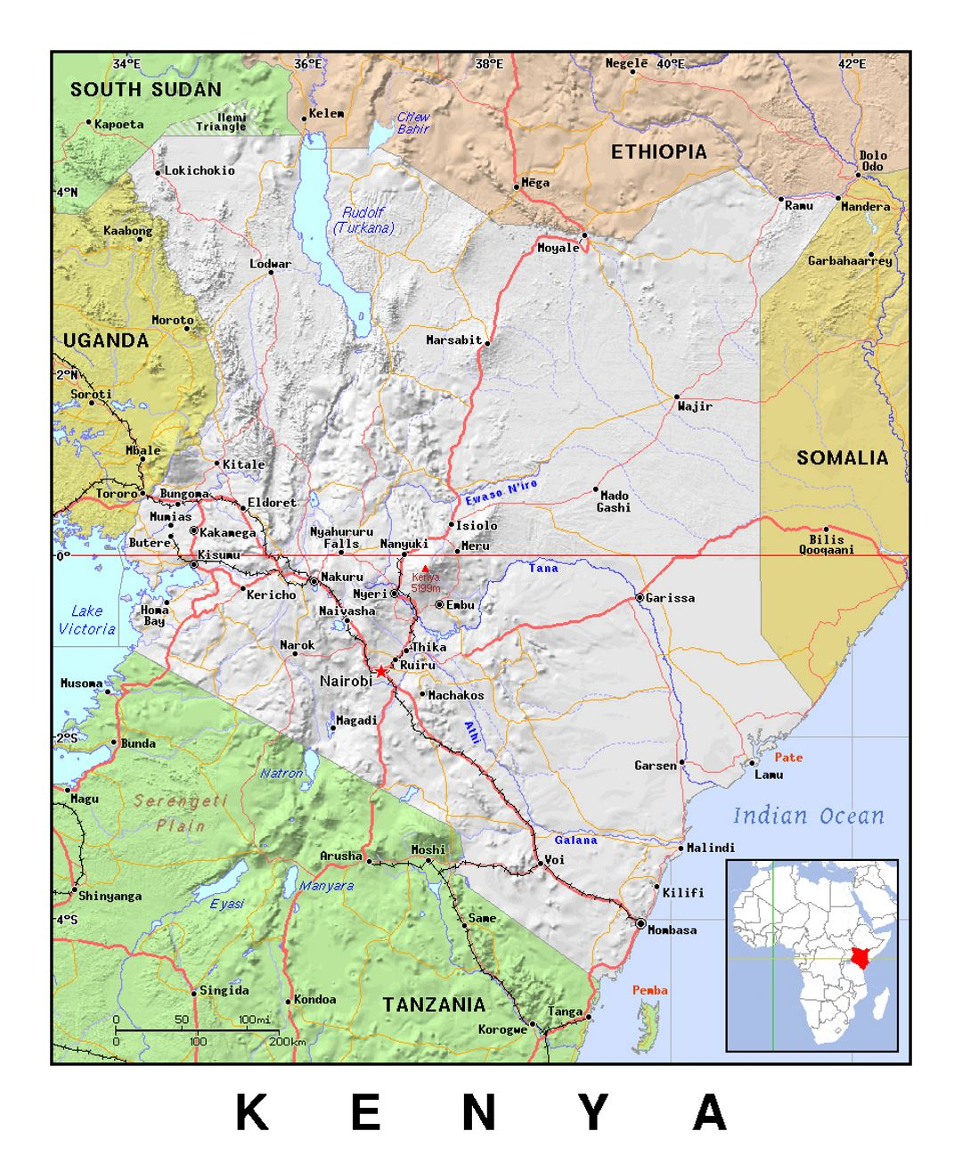 Detailed political map of Kenya with relief